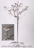 "CLEARANCE  Candle Holder ""Matilda"" - 47"" Tree :  Silver Birds, Silver Leaves & Crystals"