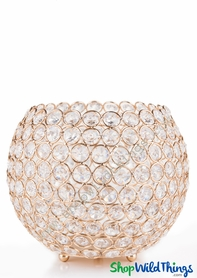 "Candle Holder - Real Beaded Crystal Ball Large - ""Prestige"" - 9 1/2"" Gold"