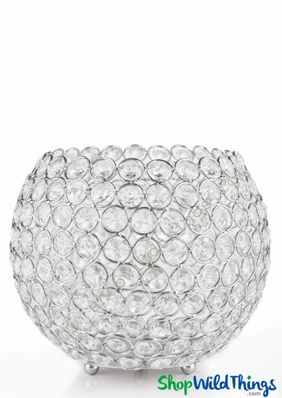 "Candle Holder - Real Beaded Crystal Ball Large - ""Prestige"" - 9 1/2"" Silver"