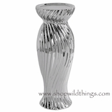 "Candle Holder Silver Metallic - ""Landon"" - 4.5"" x 12"""