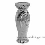 "Candle Holder Silver Metallic -  ""Preston"" - 4"" x 10"""