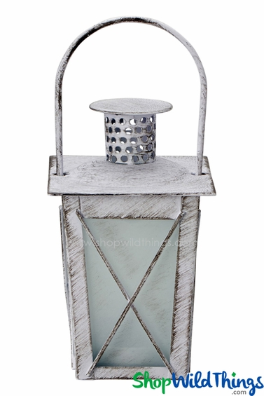 Candle Lantern - Square Hurricane Antique White 6 1/2""