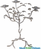 "Candle Tree Centerpiece - ""Sarafina"" - 3 Branches 17.3""H  -Antique Silver"