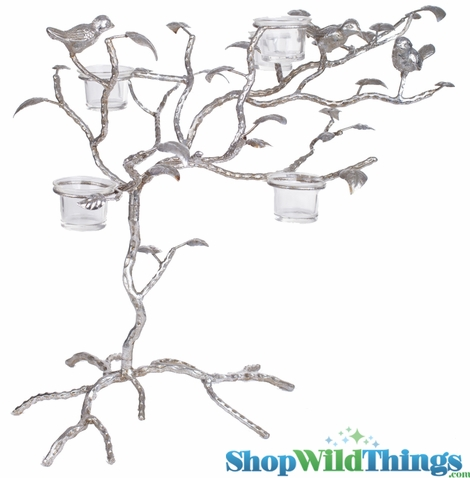 """Clearance - Candle Tree with Birds & Leaves - """"Kimberly"""" - 18""""H - Antique Silver - 5 Glass Candle Cups"""