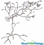 "Candle Tree with Birds & Leaves - ""Kimberly"" - 18""H - Antique Silver - 5 Glass Candle Cups"