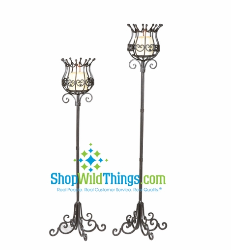 Clearance - Candleholder Set of 2 - Double Scroll Black Iron