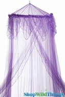 "Canopy ""Evangeline"" Purple With Holographic Polka Dots Mosquito Net"