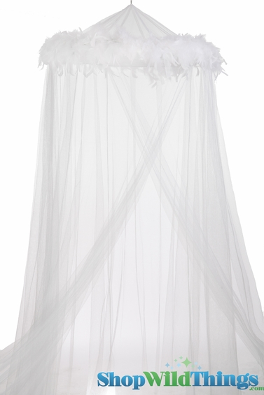 Bed Canopy with Feathers White, White Feather Garland Mosquito Net ...