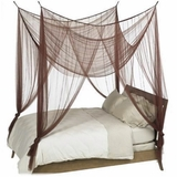 "Canopy- ""Zanzibar"" Brown Four Point Luxury Quality Mosquito Net"