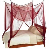 "Canopy- ""Zanzibar"" Deep Red Four Point Luxury Quality Mosquito Net"