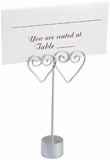 Card Holders - Silver Double Hearts - Set of 12