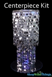 "Centerpiece Boost Kit - ""Shimmy"" Silver Beaded Centerpiece on 20"" Riser"