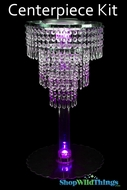 "Centerpiece Boost Kit - ""Victoria"" Clear Hand Strung Beaded Centerpiece on 20"" Riser"
