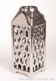 "Ceramic Candle Lantern - Large- 13.5""- Silver Metallic"