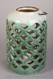 "CLEARANCE 10"" X 6"" Ceramic Candle Lantern - Large Cylinder Shape- Green"