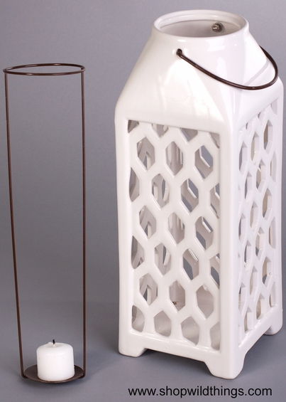 CLEARANCE! Ceramic Candle Lantern - Large, White - Hanging or Table Top!
