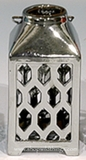 "CLEARANCE - Ceramic Candle Lantern - Medium - 8.75""- Silver Metallic"