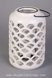 "CLEARANCE 10"" X  6"" Ceramic Candle Lantern - White - Tabletop or Hanging!"