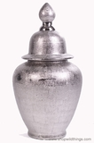 Ceramic Silver Covered Urn 24""