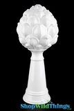 "Ceramic White Tabletop Decor Finial - 17"" Tall - Artichoke"