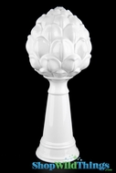 "Ceramic White Tabletop D�cor Finial - 17"" Tall - Artichoke"