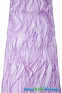 "Chair Bow / Table Runner 9"" x 10' - Purple Sparkle Stripe Organza - 6 pieces"