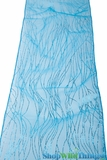 "Chair Bow / Table Runner 9"" x 10 ft - Turquoise Sparkle Stripe Organza - 6 pieces"