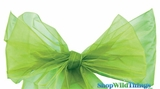 "Chair Bow/Table Runner Fabric 9"" x 10' - Sheer Apple GreenOrganza - Set of 6"