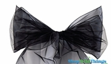 "Chair Bow/Table Runner Fabric 9"" x 10 ft - Sheer Black Organza - Set of  6"