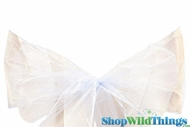 "Chair Bow/Table Runner Fabric 9"" x 10' - Sheer Ivory Organza - Set of 6 pcs"
