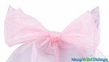 "Chair Bow/Table Runner Fabric 9"" x 10 ft - Sheer Light Pink Organza - Set of 6"