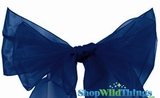 "Chair Bow/Table Runner Fabric 9"" x 10' - Sheer Navy Blue Organza - Set of 6"