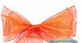 "Chair Bow/Table Runner Fabric 9"" x 10 ft - Sheer Orange Organza - Set of 6"