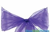 "Chair Bow/Table Runner Fabric 9"" x 10 ft - Sheer Purple Organza - Set of 6"