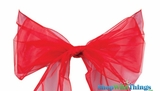 "Chair Bow/Table Runner Fabric 9"" x 10 ft - Sheer Red Organza - Set of 6"