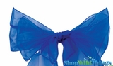 "Chair Bow/Table Runner Fabric 9"" x 10 ft - Sheer Royal Blue Organza - Set of 6"