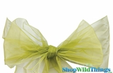 "Chair Bow/Table Runner Fabric 9"" x 10' - Sheer Sage Green Organza - Set of 6"
