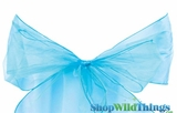 "Chair Bow/Table Runner Fabric 9"" x 10 ft - Sheer Turquoise Organza - Set of 6"