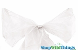 "Chair Bow/Table Runner Fabric 9"" x 10 ft - Sheer White Organza - Set of 6"