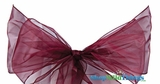 "Chair Bow/Table Runner Fabric 9"" x 10 ft - Sheer Wine/Burgundy Organza - Set of 6"