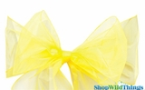 "Chair Bow/Table Runner Fabric 9"" x 10' - Sheer Yellow Organza - Set of 6"