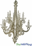 """Granville"" Candelabra - Collapsible 3-D Hanging Decoration 24"" x 18"" - Champagne Glitter"