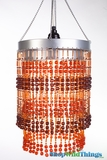 "Chandelier  ""Ashley""  2-Tier Hanging Lamp, Amber/Brown 9"" x 14"""