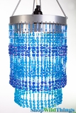 "Chandelier  ""Ashley""  2-Tier Hanging Lamp, Blue 9"" x 14"""