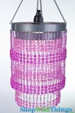 "Chandelier  ""Ashley""  2-Tier Hanging Lamp, Pink 9"" x 14"""