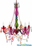 "Chandelier ""Bossa Nova"" - 6 Lights - Multi-Color Gypsy - 24 x 23"""