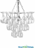 "Chandelier ""Chardonney"" - Wine Glasses Pendant Lamp - 20 x 15"""