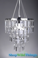 "Chandelier ""Emily"" w/ Clear Rectangle Crystals"