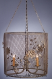 "Chandelier - Extra Large 21"" x 19.5"" Vintage Metal Mesh and Flowers ""Emmanuelle"""