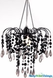 "Chandelier ""Giana"" Black 3 Tier Beaded Chandelier"